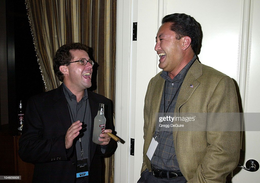 Andrew House & Kaz Hirai, President & Chief Operating Officer of Sony Computer Entertainment America (SCEA), at Smirnoff Ice After Hours Party for PlayStation 2 Anniversary in L.A.