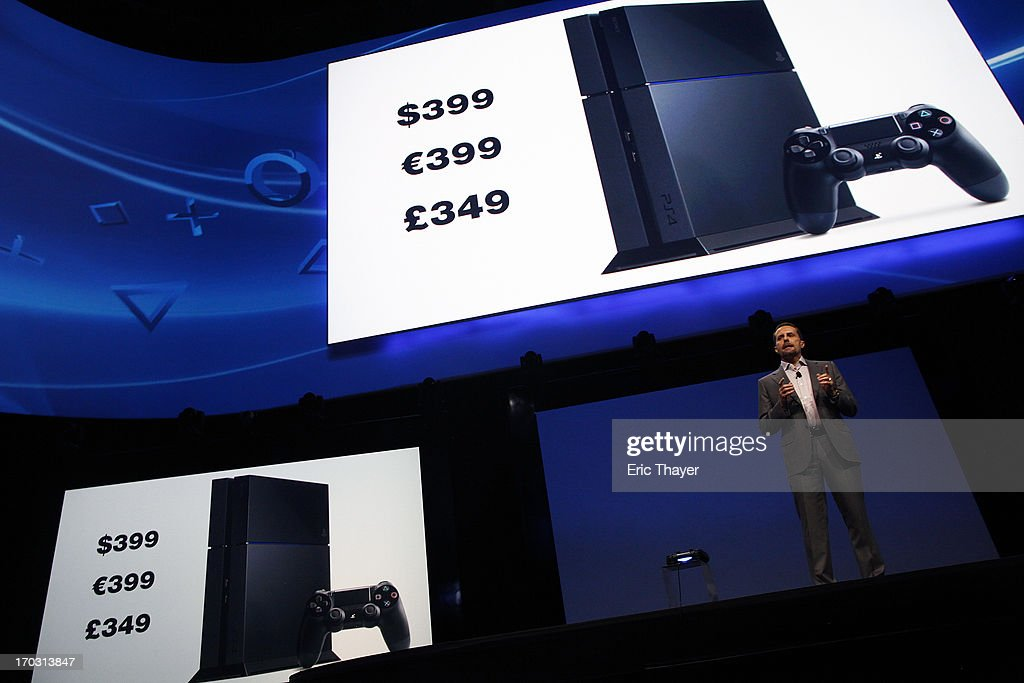 Andrew House, President and Group CEO Sony Computer Entertainment Inc., announces the pricing for a Playstation 4 at the Sony Playstation E3 2013 press conference June 10, 2013 in Los Angeles, California. Thousands are expected to attend the annual three-day convention to see the latest games and announcements from the gaming industry.