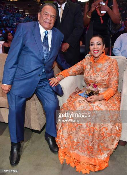 Andrew J Young and Carolyn Young attend the 2017 Andrew Young International Leadership awards and 85th Birthday tribute at Philips Arena on June 3...