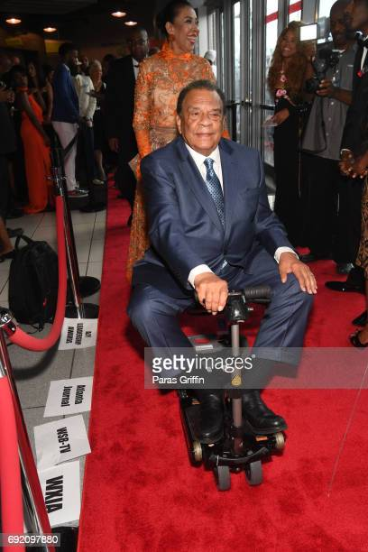 Andrew J Young arrives at the 2017 Andrew Young International Leadership Awards and 85th Birthday Tribute at Philips Arena on June 3 2017 in Atlanta...