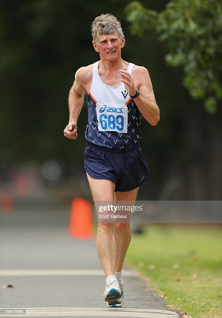 Andrew Jamieson of Victoria competes in the Mens 50000 metre Race Walk Championship Open during the 50km race walking championships at Fawkner Park on December 9, 2012 in Melbourne, Australia.