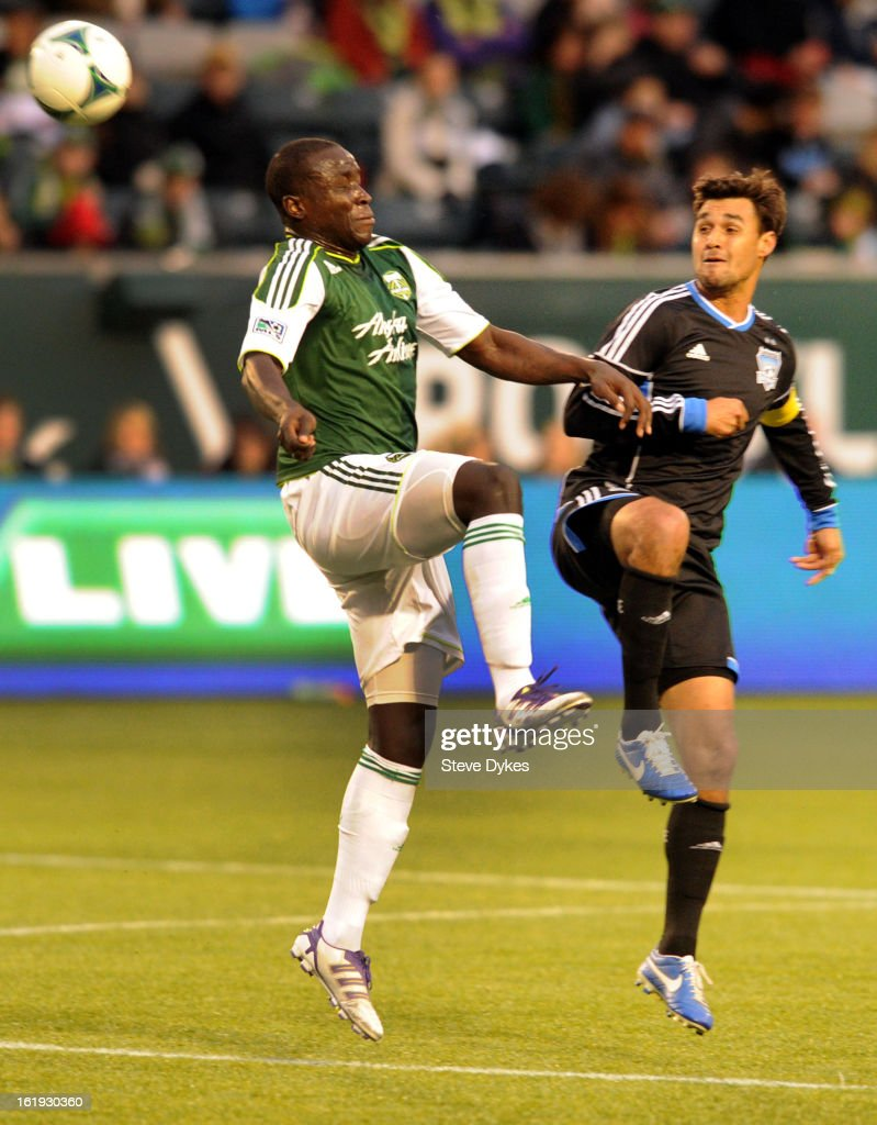 Andrew Jean-Baptiste #35 of Portland Timbers goes up for a ball with <a gi-track='captionPersonalityLinkClicked' href=/galleries/search?phrase=Chris+Wondolowski&family=editorial&specificpeople=2579265 ng-click='$event.stopPropagation()'>Chris Wondolowski</a> #8 of San Jose Earthquakes during the first half of the game at Jeld-Wen Field on February 17, 2013 in Portland, Oregon.