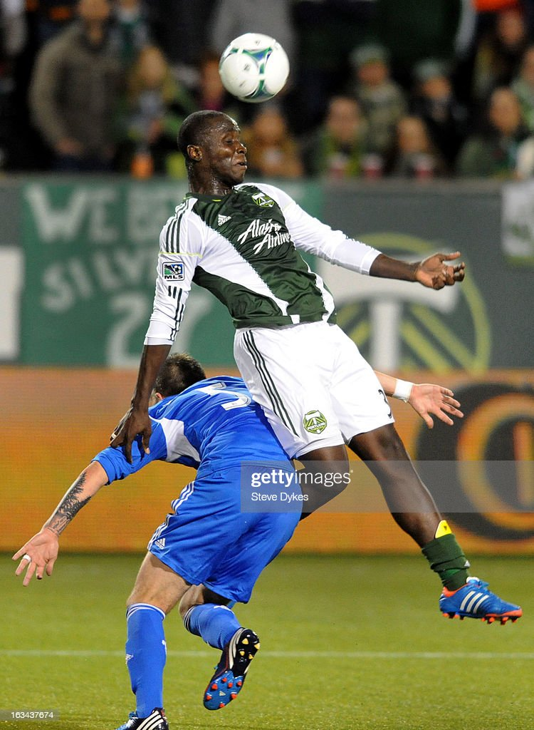 Andrew Jean-Baptiste #35 of Portland Timbers goes up over Jeb Brovsky #5 of Montreal Impact for the ball during the second half of the game at Jeld-Wen Field on March 09, 2013 in Portland, Oregon. Montreal won the game 2-1.
