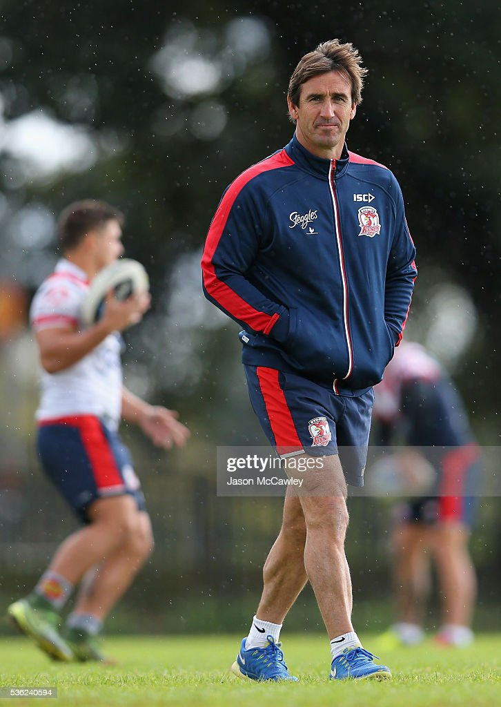 <a gi-track='captionPersonalityLinkClicked' href=/galleries/search?phrase=Andrew+Johns+-+Rugby+League+Player&family=editorial&specificpeople=15866159 ng-click='$event.stopPropagation()'>Andrew Johns</a> halves coach of the Roosters watches on during a Sydney Roosters NRL training session at Moore Park on June 1, 2016 in Sydney, Australia.