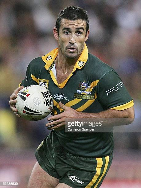 Andrew Johns of the Kangaroos looks to pass during the ARL test match between the Australian Kangaroos and the New Zealand Kiwis at Suncorp Stadium...