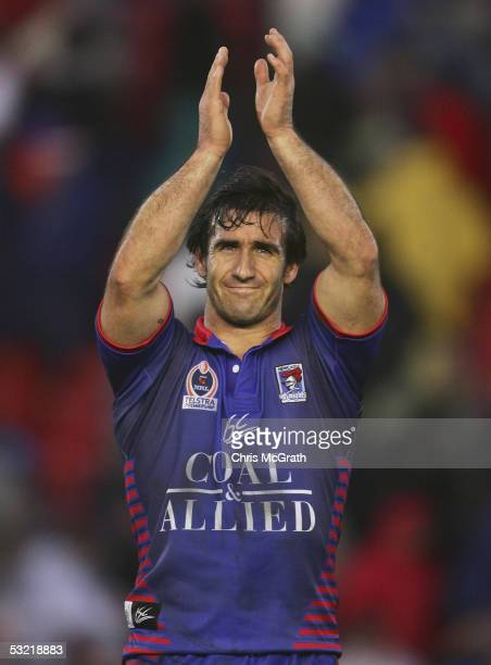 Andrew Johns of the Knights celebrates victory during the round 18 NRL match between the Newcastle Knights and the North Queensland Cowboys held at...