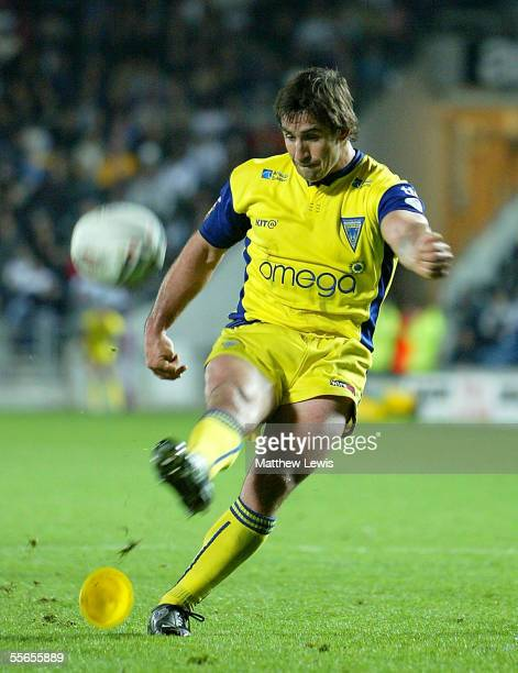 Andrew Johns of Warrington kicks a conversion during the Engage Super League match between Hull FC and Warrington Wolves at the KC Stadium on...