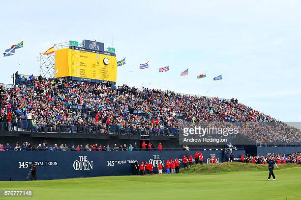 Andrew Johnston of England acknowledges the crowd as he walks to the the 18th green during the final round on day four of the 145th Open Championship...