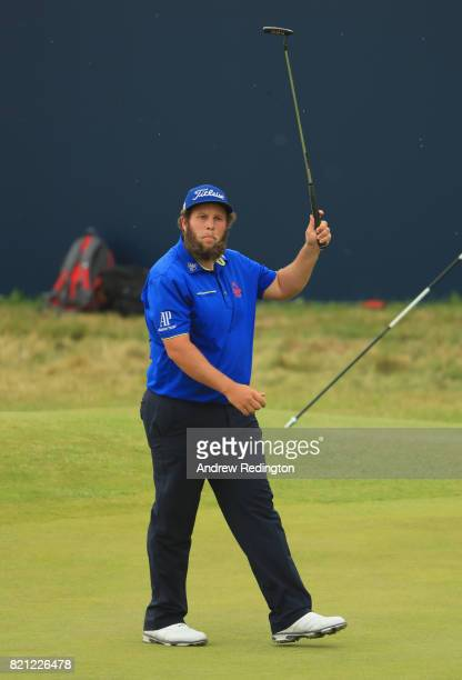 Andrew Johnston of England acknowledges the crowd on the 18th hole during the final round of the 146th Open Championship at Royal Birkdale on July 23...