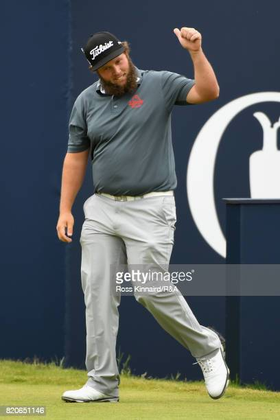 Andrew Johnston of England acknowledges the crowd on the 1st tee during the third round of the 146th Open Championship at Royal Birkdale on July 22...