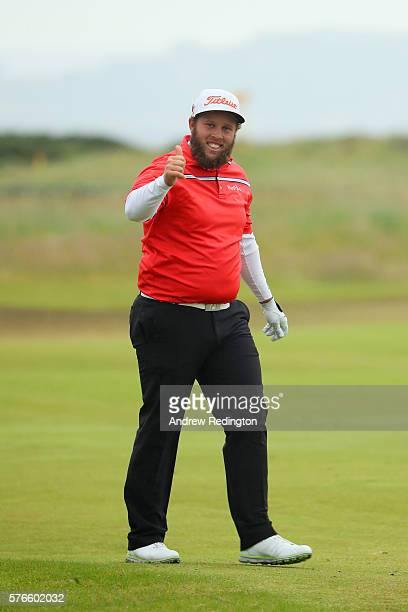Andrew Johnston of England gives a thumbs up on the 18th hole during the third round on day three of the 145th Open Championship at Royal Troon on...
