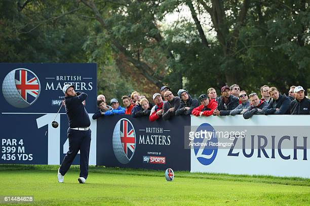 Andrew Johnston of England hits his tee shot on the 14th hole during the second round of the British Masters at The Grove on October 14 2016 in...
