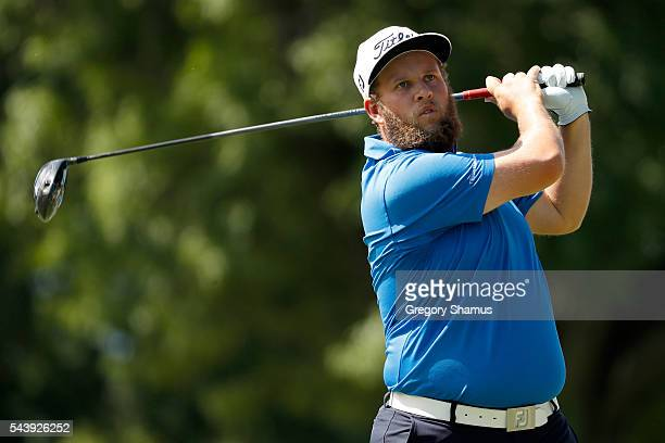 Andrew Johnston of England hits off the third tee during the first round of the World Golf Championships Bridgestone Invitational at Firestone...