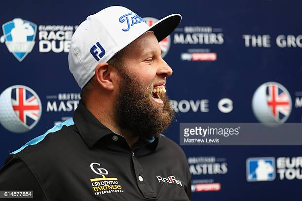 Andrew Johnston of England is interviewed by the media following the second round of the British Masters at The Grove on October 14 2016 in Watford...