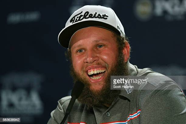 Andrew Johnston of England is interviewed during a press conference prior to the 2016 PGA Championship at Baltusrol Golf Club on July 27 2016 in...