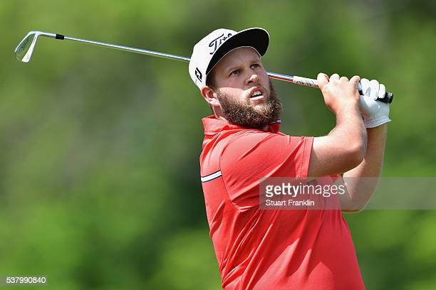Andrew Johnston of England looks on after an Iron shot on the fourth hole during the third round on day three of The Nordea Masters at Bro Hof Slott...