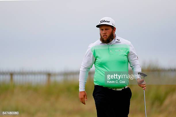 Andrew Johnston of England looks on at the 1st during the second round on day two of the 145th Open Championship at Royal Troon on July 15 2016 in...
