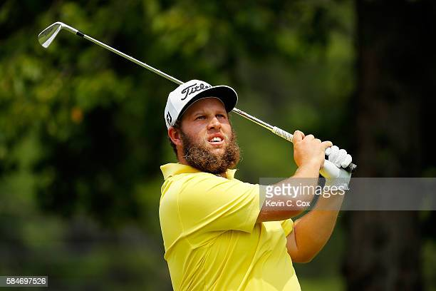Andrew Johnston of England plays his shot from the fourth tee during the third round of the 2016 PGA Championship at Baltusrol Golf Club on July 30...