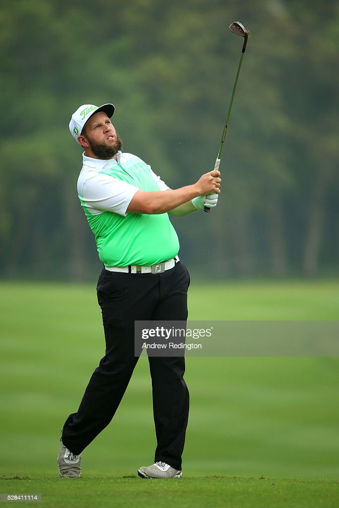 Andrew Johnston of England plays his third shot on the 12th during the first round of the Trophee Hassan II at Royal Golf Dar Es Salam on May 5, 2016 in Rabat, Morocco.