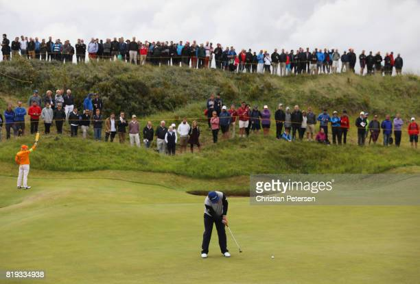 Andrew Johnston of England putts on the 2nd green during the first round of the 146th Open Championship at Royal Birkdale on July 20 2017 in...