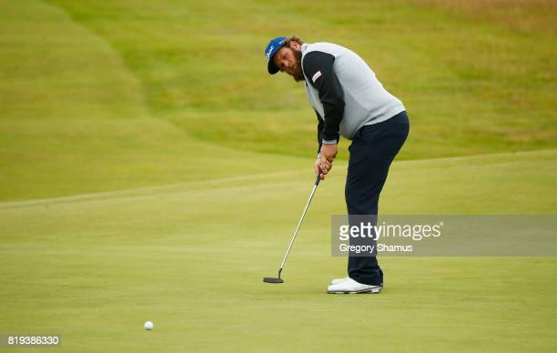 Andrew Johnston of England putts on the 4th green during the first round of the 146th Open Championship at Royal Birkdale on July 20 2017 in...