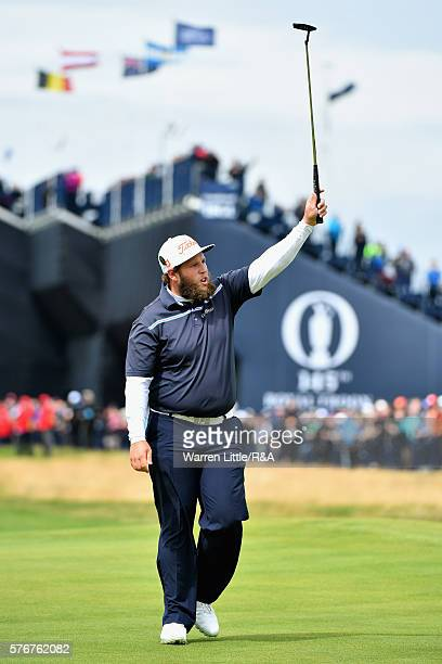 Andrew Johnston of England reacts on the 1st green during the final round on day four of the 145th Open Championship at Royal Troon on July 17 2016...