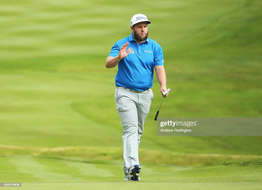 <a gi-track='captionPersonalityLinkClicked' href=/galleries/search?phrase=Andrew+Johnston+-+Golfer&family=editorial&specificpeople=15823456 ng-click='$event.stopPropagation()'>Andrew Johnston</a> of England reacts on the 4th green during day one of the BMW PGA Championship at Wentworth on May 26, 2016 in Virginia Water, England.