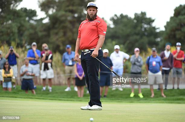 Andrew Johnston of England reacts to missing his putt on the first hole during the final round of the Albertsons Boise Open on September 18 2016 in...