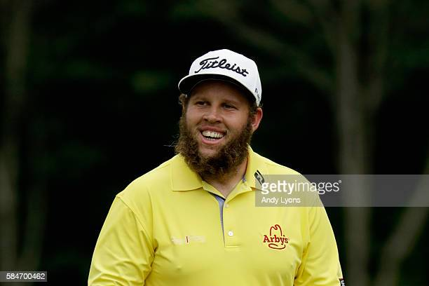 Andrew Johnston of England smiles on the second tee during the third round of the 2016 PGA Championship at Baltusrol Golf Club on July 30 2016 in...