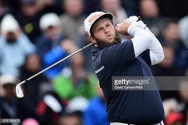 Andrew Johnston of England tees off during the final round on day four of the 145th Open Championship at Royal Troon on July 17 2016 in Troon Scotland