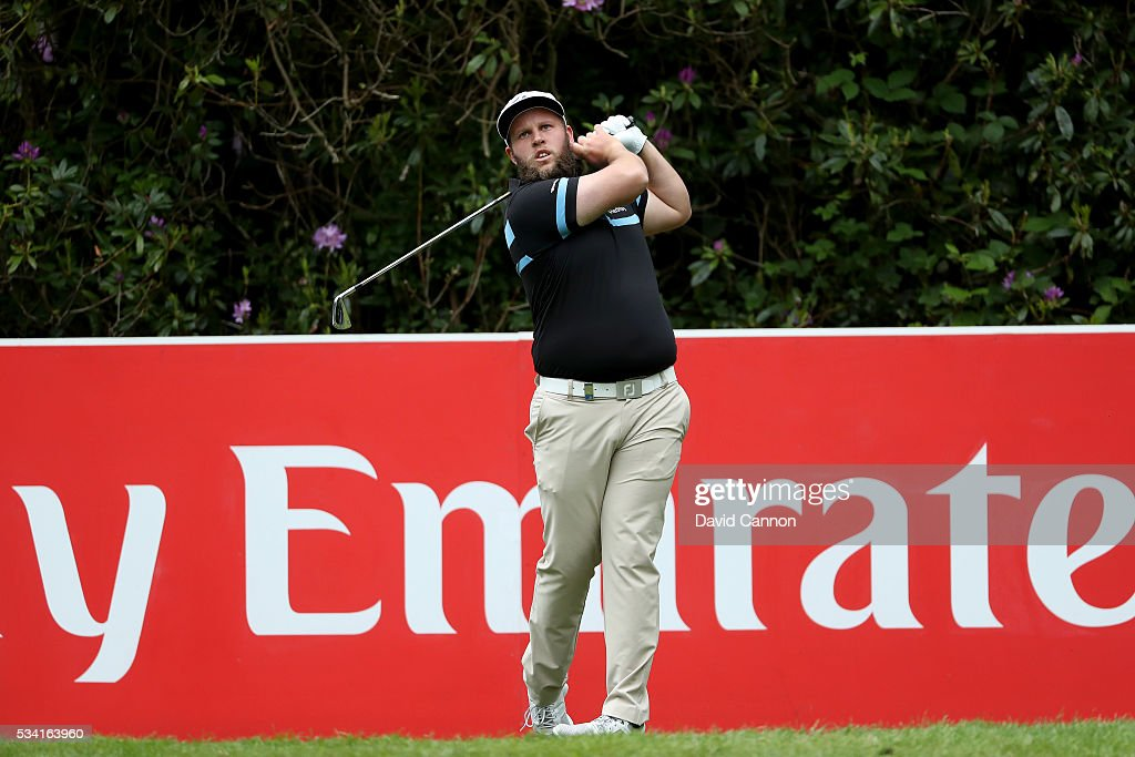 <a gi-track='captionPersonalityLinkClicked' href=/galleries/search?phrase=Andrew+Johnston+-+Golfer&family=editorial&specificpeople=15823456 ng-click='$event.stopPropagation()'>Andrew Johnston</a> of England tees off during the Pro-Am prior to the BMW PGA Championship at Wentworth on May 25, 2016 in Virginia Water, England.