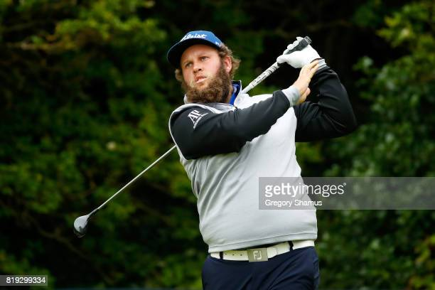 Andrew Johnston of England tees off on the 5th hole during the first round of the 146th Open Championship at Royal Birkdale on July 20 2017 in...