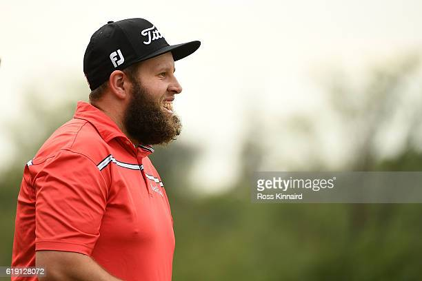 Andrew Johnston of England walks down the 4th hole during day four of the WGC HSBC Champions at Sheshan International Golf Club on October 30 2016 in...