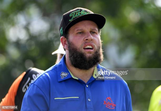 Andrew Johnston of England walks onto the 13th tee during the first round of the 2017 PGA Championship at Quail Hollow Club on August 10 2017 in...