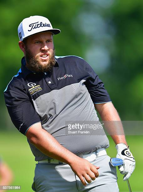 Andrew Johnston of England watches his shot on the 3rd hole during the first round on day one of the Nordea Masters at Bro Hof Slott Golf Club on...