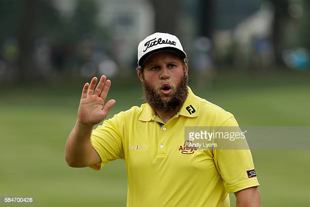 Andrew Johnston of England waves on the third green during the third round of the 2016 PGA Championship at Baltusrol Golf Club on July 30 2016 in...