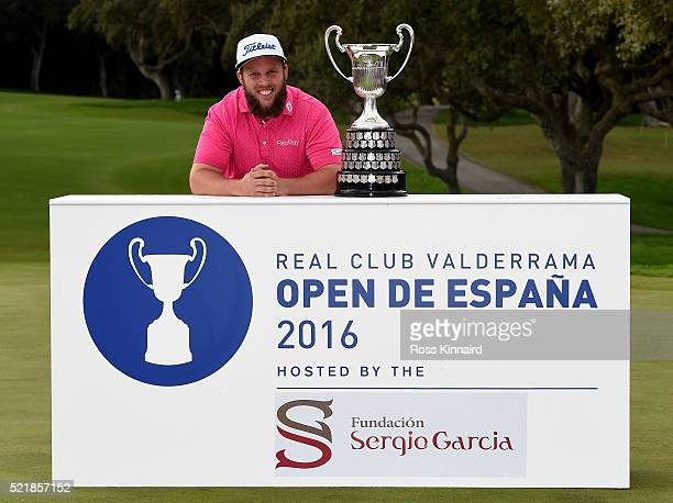 Andrew Johnston of England with the winners trophy the final round of the Open de Espana on April 17 2016 in Sotogrande Spain