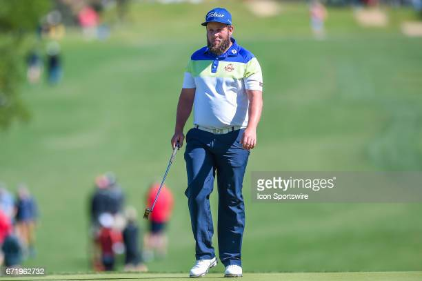 Andrew Johnston walks up onto the 10th green during the final round of the Valero Texas Open at the TPC San Antonio Oaks Course in San Antonio TX on...