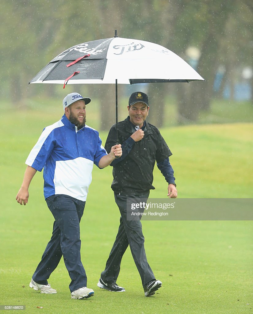 Andrew Johnstone of England and HRH Prince Moulay Rachid are pictured together during the Pro Am prior to the start of the Trophee Hassan II at Royal Golf Dar Es Salam on May 4, 2016 in Rabat, Morocco.