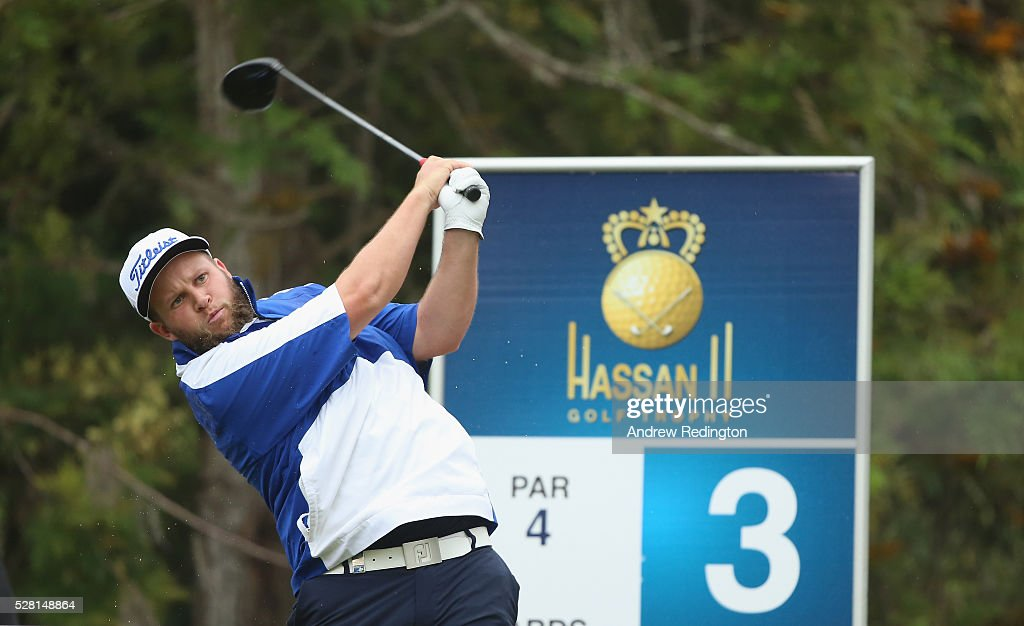 Andrew Johnstone of England hits his tee-shot on the third hole during the Pro Am prior to the start of the Trophee Hassan II at Royal Golf Dar Es Salam on May 4, 2016 in Rabat, Morocco.