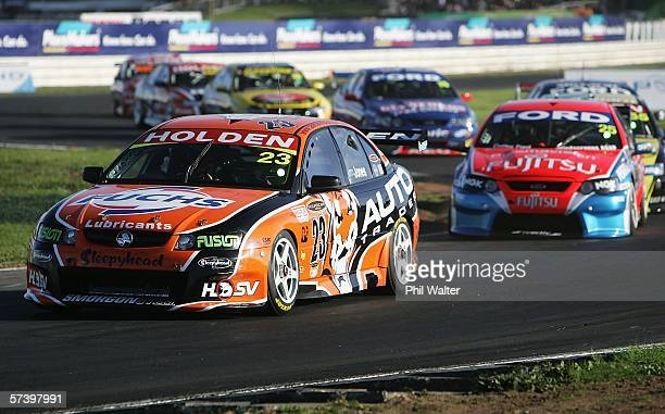 Andrew Jones leads a pack of cars in his Holden through the S Bends during Race One of the V8 Supercars Second Round at Pukekohe Park Raceway April...