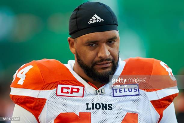 Andrew Jones of the BC Lions on the sideline during the game between the BC Lions and the Saskatchewan Roughriders at Mosaic Stadium on August 13...