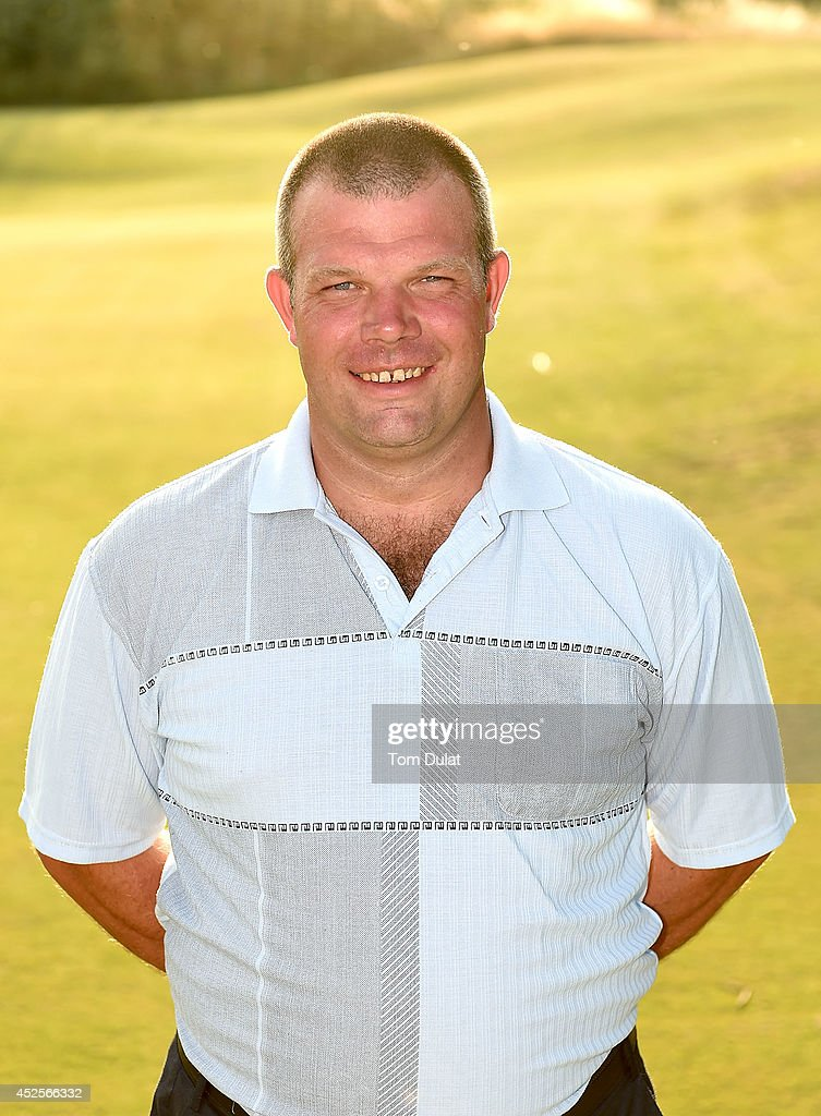 Andrew Jones poses for photographs after winning the Lombard Trophy West Regional Qualifier at Burnham and Berrow Golf Club on July 23, 2014 in Burnham-on-Sea, England.