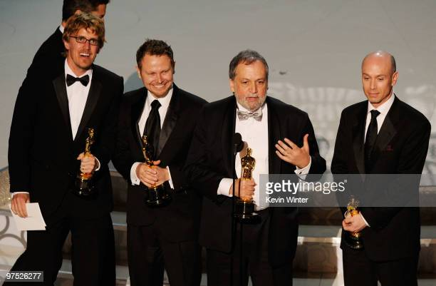 Andrew Jones Richard Baneham Joe Letteri and Stephen Rosenbaum accept Best Visual Effects for 'Avatar' onstage during the 82nd Annual Academy Awards...