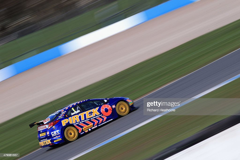 Andrew Jordan in the Pirtek Racing Honda Civic in action during the 2014 Dunlop MSA British Touring Car Championship media day at Donington Park on March 18, 2014 in Castle Donington, England.