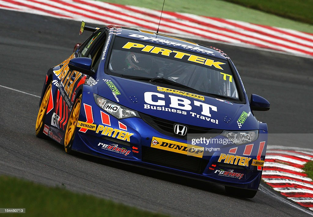 Andrew Jordan of Great Britain drives the #77 Pirtek Racing Honda Civic during practice for the Dunlop MSA British Touring Car Championship race at the Brands Hatch Circuit on October 20, 2012 near Longfield, United Kingdom.