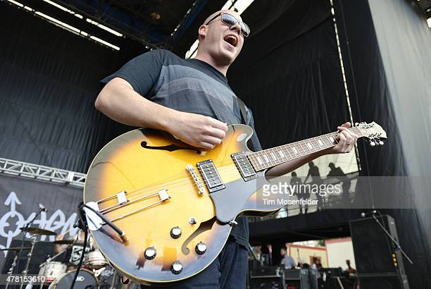 Andrew Jordan of Matchbook Romance performs during the 2015 Vans Warped Tour at Shoreline Amphitheatre on June 20 2015 in Mountain View California