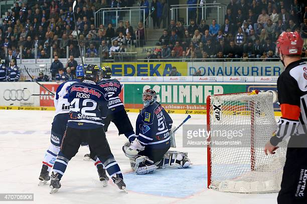 Andrew Joudrey of Mannheim scores the 2nd team goal during the DEL Playoffs Final Game 6 between ERC Ingolstadt and Adler Mannheim at Saturn Arena on...