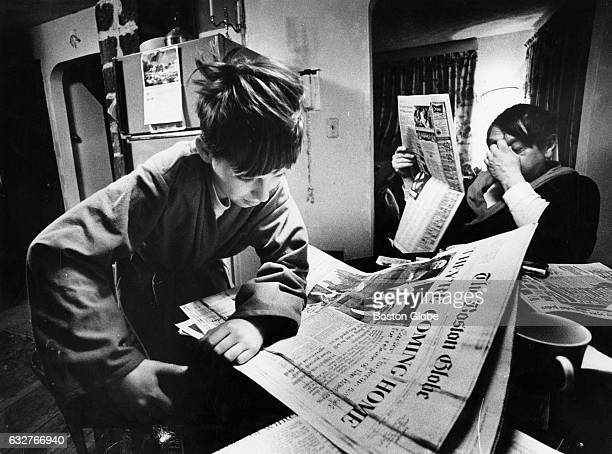 Andrew Kalp and his stepfather Milton Swartz read the news of the release of the hostages who had been held in Tehran in their home in Randolph Mass...