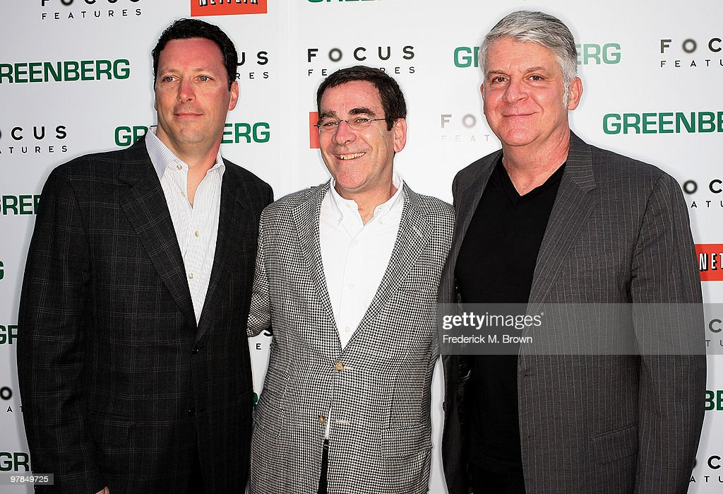 Andrew Karpen, President of Focus Features, Jack Foley, President of Theatrical Distribution and John Lyons, President of Production attend the 'Greenberg' film premiere at the ArcLight Hollywood Cinemas on March 18, 2010 in Hollywood, California.